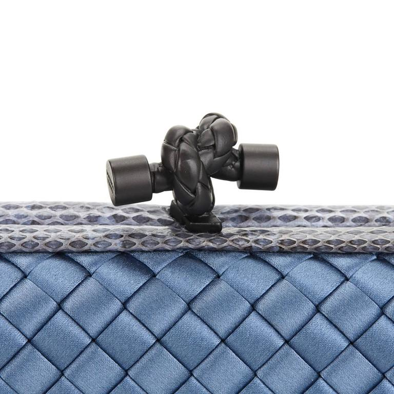 2000s Bottega Veneta Glaucous Blue Woven Satin & Snakeskin Trim Long Knot Clutch 7