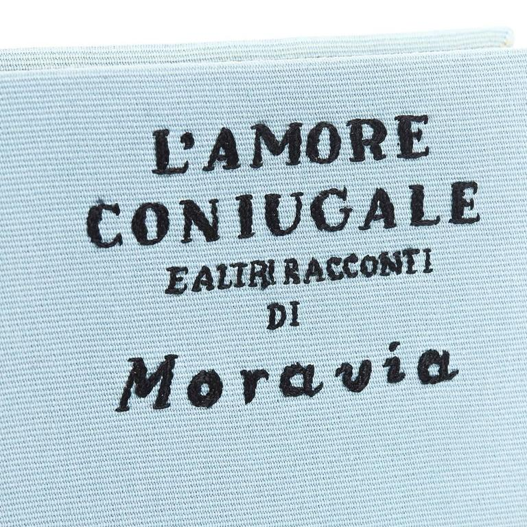 2010s Olympia Le-Tan Blue Fabric L'Amore Coniugale Book Clutch 8