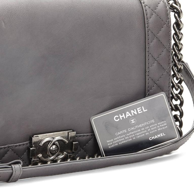 bfa840cf4d7f 2010s Chanel Grey Calfskin Medium Le Boy Reverso For Sale 5