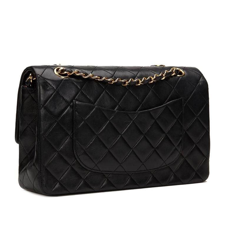 04c85067e31d 1980s Chanel Black Quilted Lambskin Vintage Medium Classic Double Flap Bag  For Sale 2