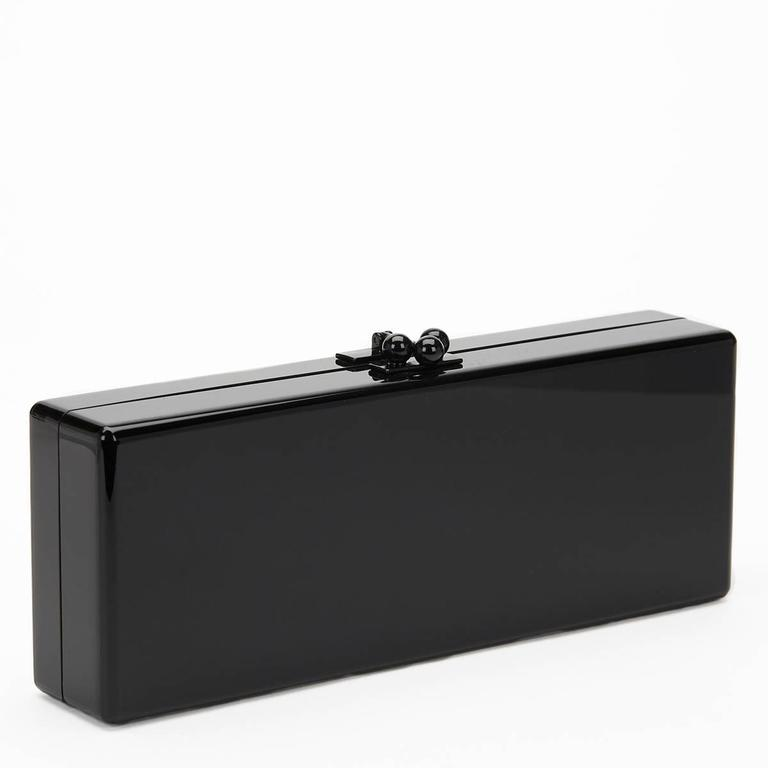 Edie Parker Black Glittered Acrylic Happy Box Clutch, 2010s  For Sale 1