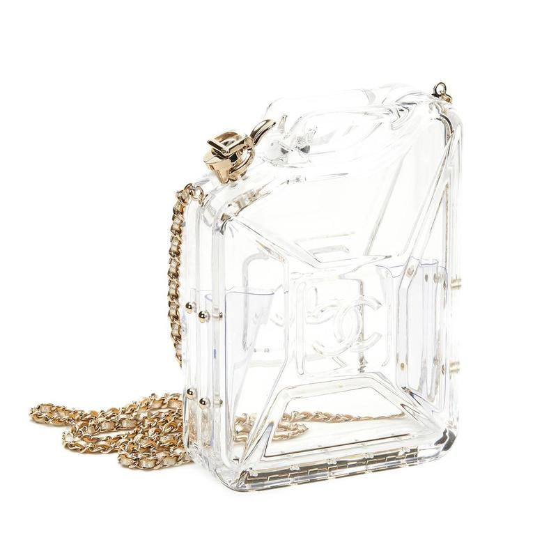 Chanel Clear Plexiglass Dubai by Night Gas Can Minaudiere, 2010s  In Excellent Condition For Sale In Bishop's Stortford, Hertfordshire