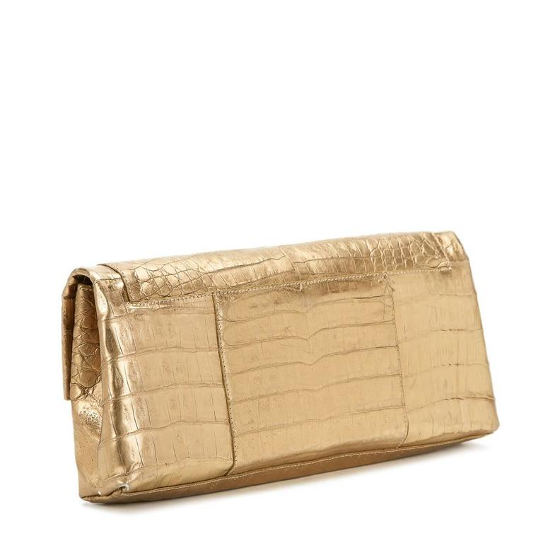 Women's 2000s Nancy Gonzalez Gold Crocodile Leather Clutch For Sale