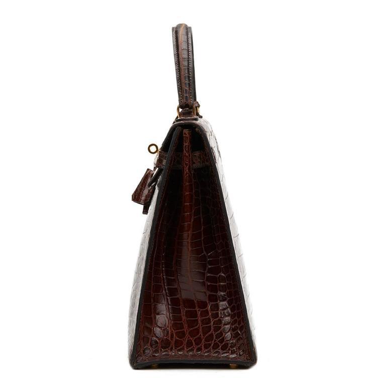1974 Brown Crocodile Leather Vintage Kelly Sellier 35cm 2