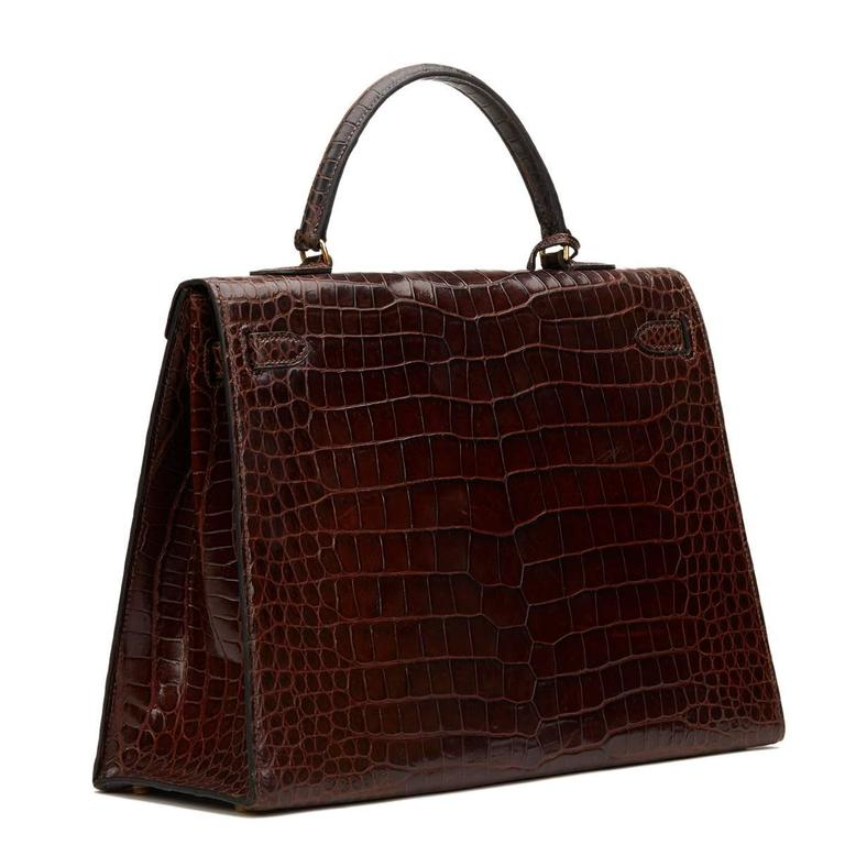 1974 Brown Crocodile Leather Vintage Kelly Sellier 35cm In Good Condition For Sale In Bishop's Stortford, GB