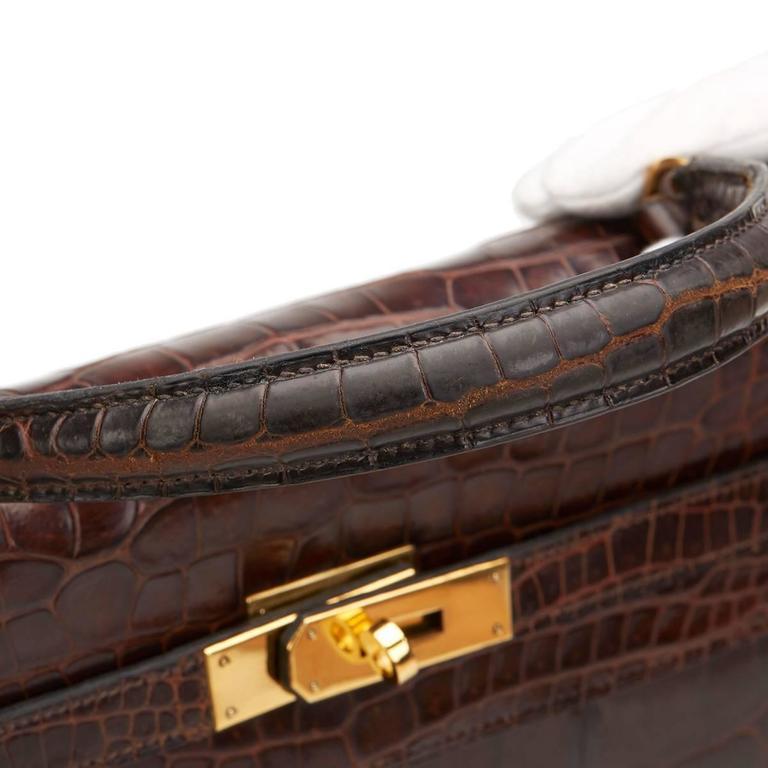 1974 Brown Crocodile Leather Vintage Kelly Sellier 35cm For Sale 2