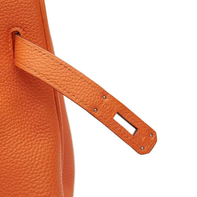 2010 Hermes Orange Togo Leather Birkin 35cm For Sale 1