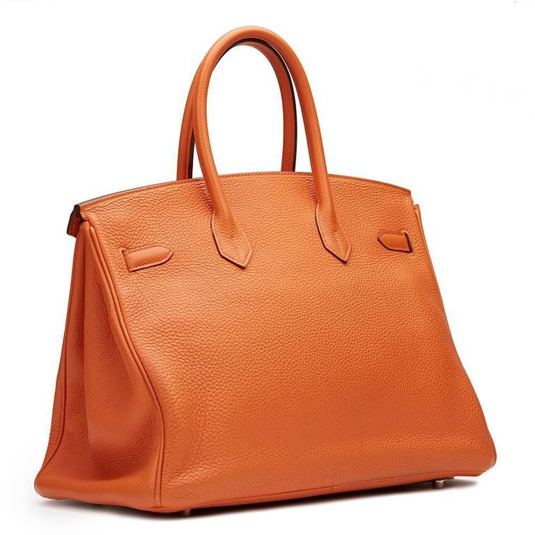2010 Hermes Orange Togo Leather Birkin 35cm For Sale 3