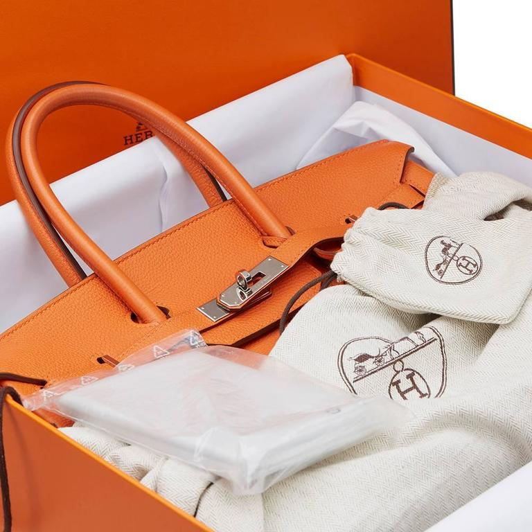2010 Hermes Orange Togo Leather Birkin 35cm For Sale 6
