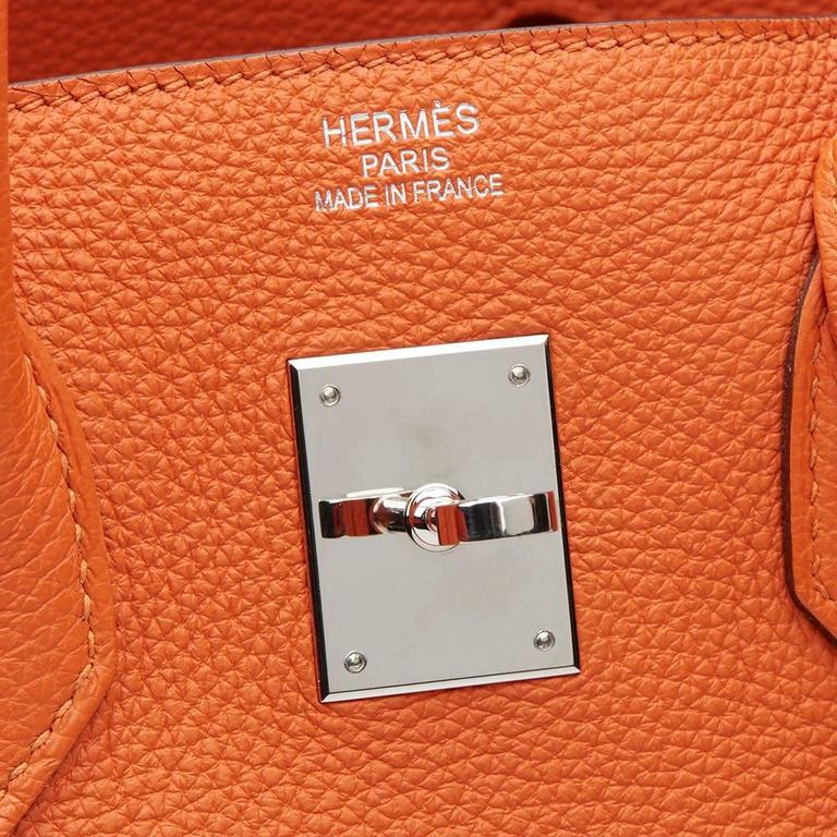 2010 Hermes Orange Togo Leather Birkin 35cm For Sale 4