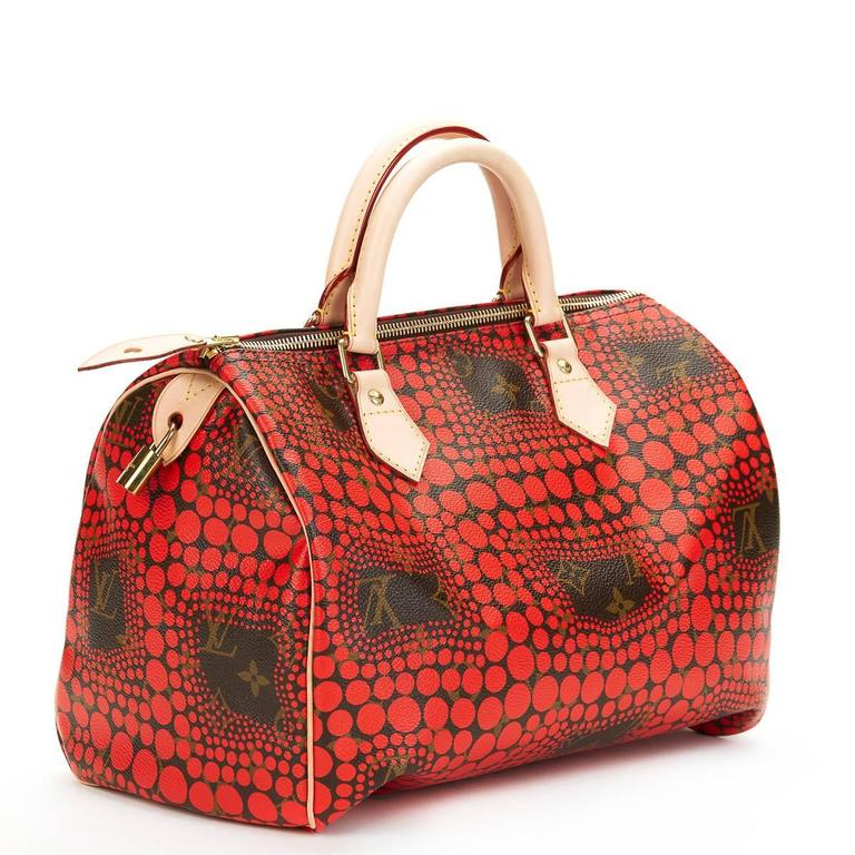 2010s Louis Vuitton Coated Canvas Yayoi Kusama Red Waves Monogram Speedy 30 5