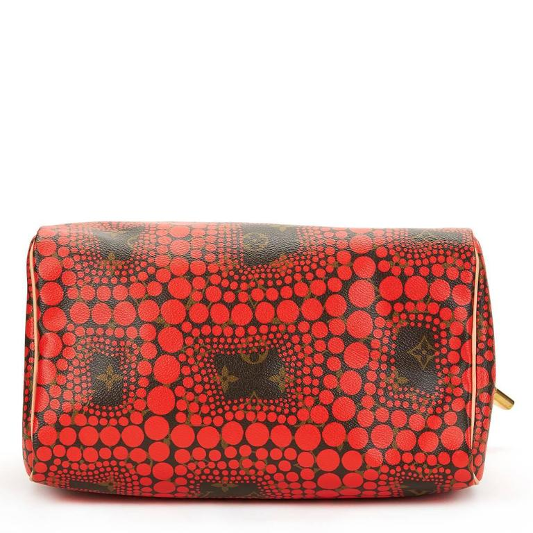 2010s Louis Vuitton Coated Canvas Yayoi Kusama Red Waves Monogram Speedy 30 4