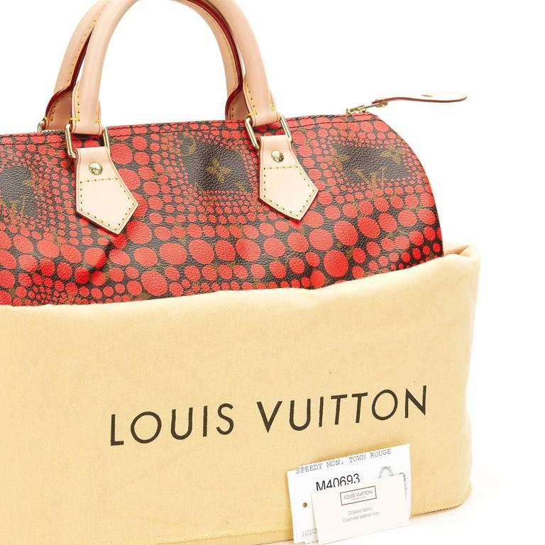 2010s Louis Vuitton Coated Canvas Yayoi Kusama Red Waves Monogram Speedy 30 10