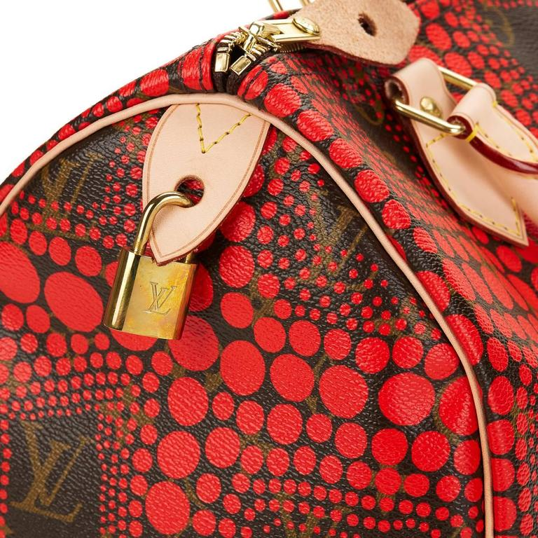 2010s Louis Vuitton Coated Canvas Yayoi Kusama Red Waves Monogram Speedy 30 7