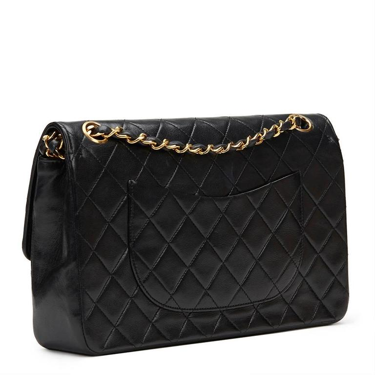 1980s Chanel Black Quilted Lambskin Vintage Medium Classic Double Flap Bag 5