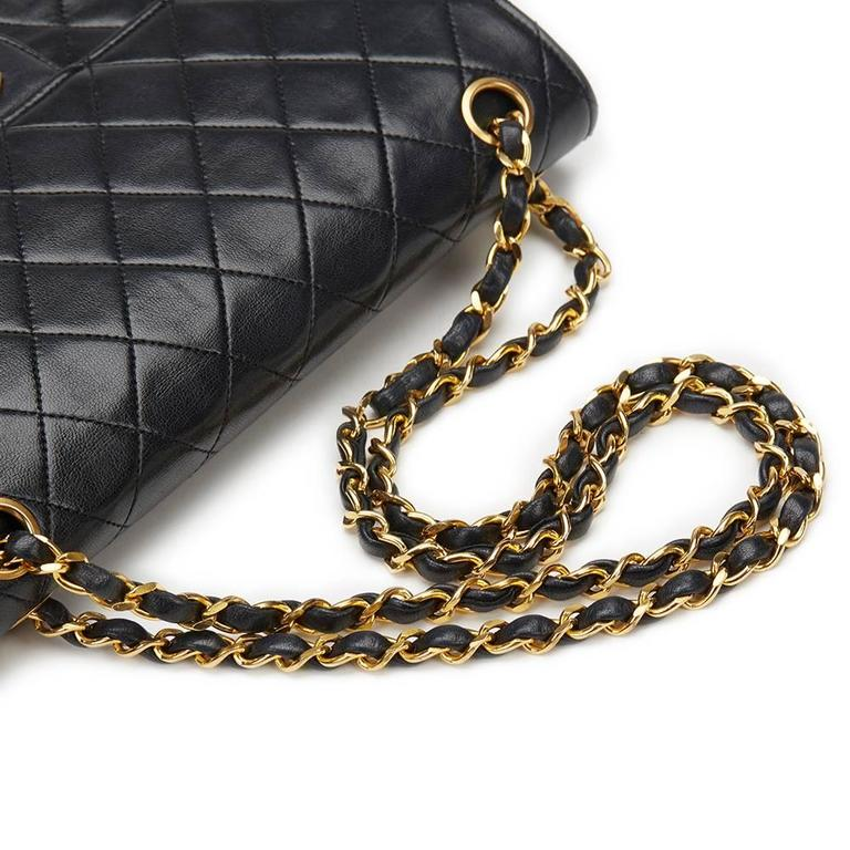 1980s Chanel Black Quilted Lambskin Vintage Medium Classic Double Flap Bag 6