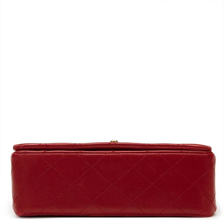 Chanel 1990s Red Quilted Lambskin Vintage Mini Flap Bag 4