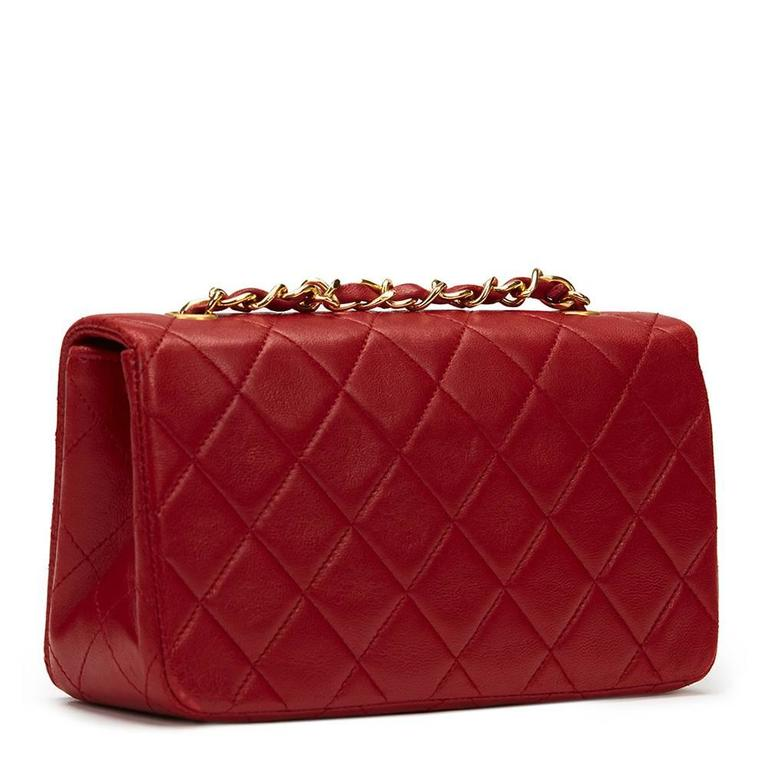 Chanel 1990s Red Quilted Lambskin Vintage Mini Flap Bag 5