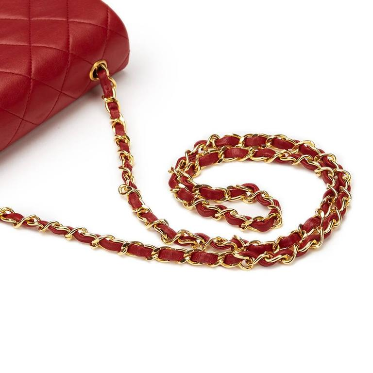 Chanel 1990s Red Quilted Lambskin Vintage Mini Flap Bag 6