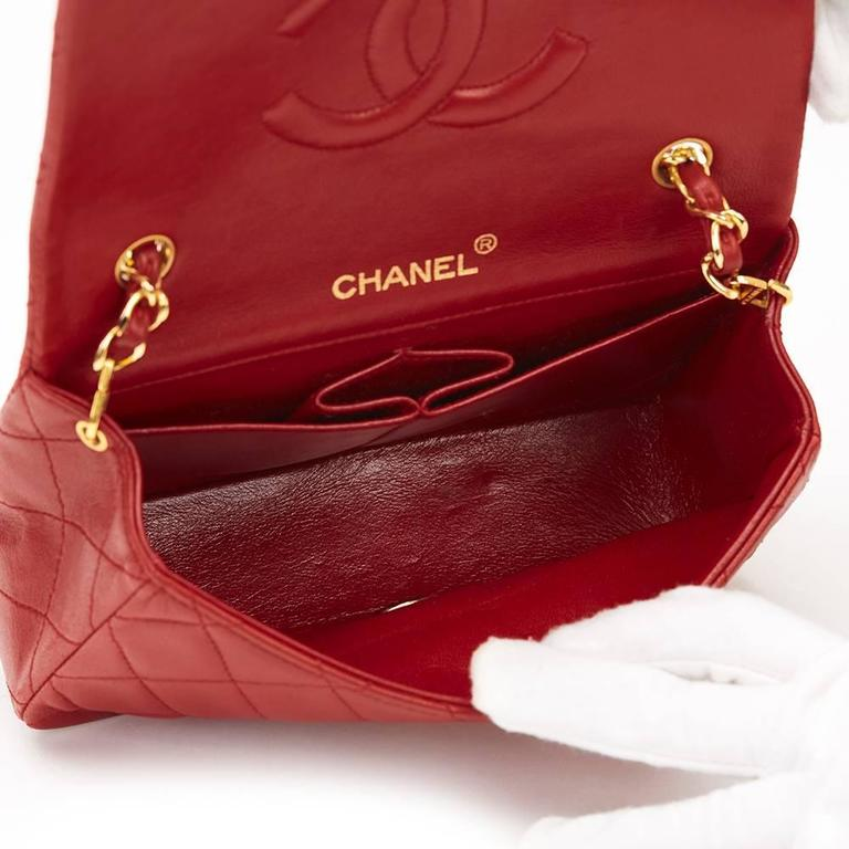 Chanel 1990s Red Quilted Lambskin Vintage Mini Flap Bag 7