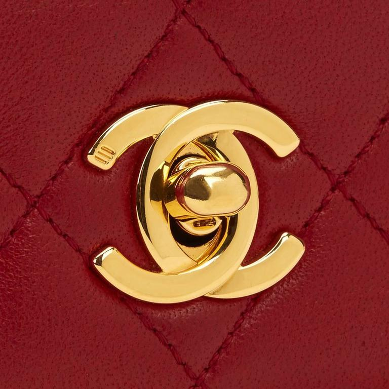 Chanel 1990s Red Quilted Lambskin Vintage Mini Flap Bag 9