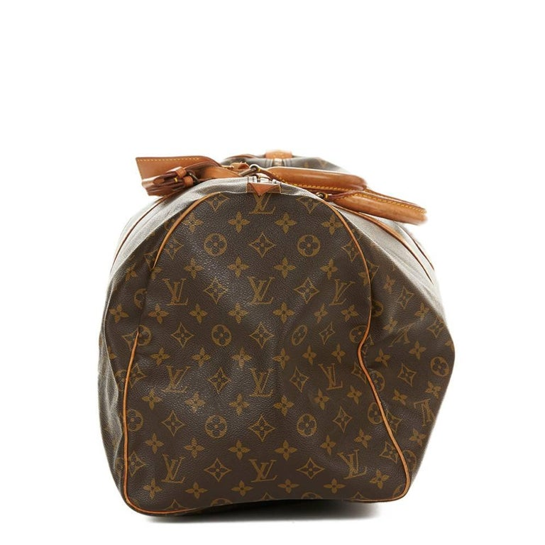 Black 1987 Louis Vuitton Brown Coated Monogram Canvas Vintage Keepall 55  For Sale