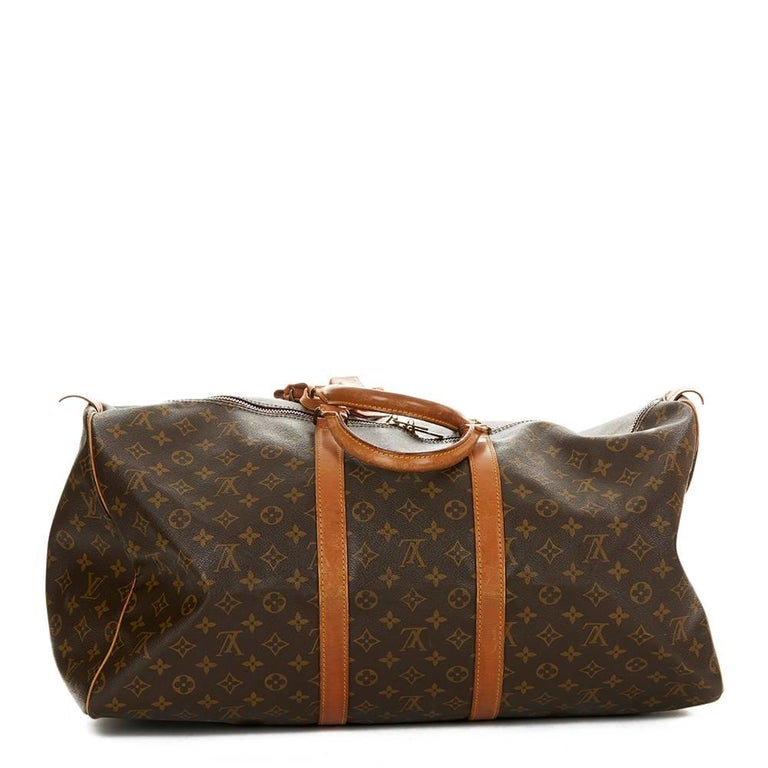 1987 Louis Vuitton Brown Coated Monogram Canvas Vintage Keepall 55  In Good Condition For Sale In Bishop's Stortford, Hertfordshire