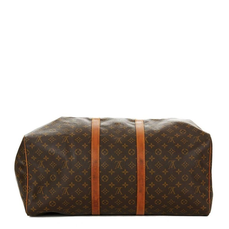 Women's or Men's 1987 Louis Vuitton Brown Coated Monogram Canvas Vintage Keepall 55  For Sale