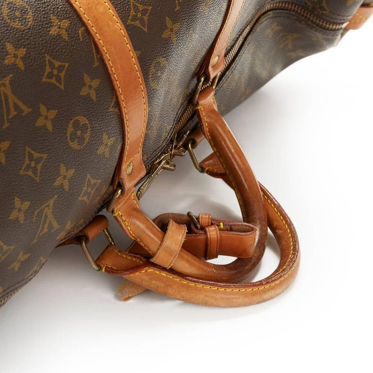 1987 Louis Vuitton Brown Coated Monogram Canvas Vintage Keepall 55  For Sale 1