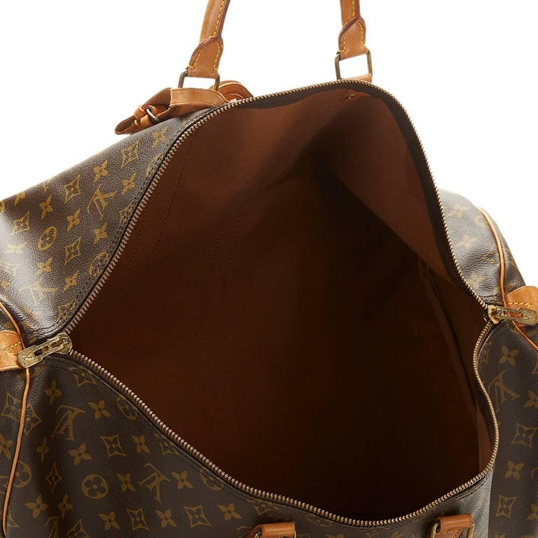 1987 Louis Vuitton Brown Coated Monogram Canvas Vintage Keepall 55  For Sale 2