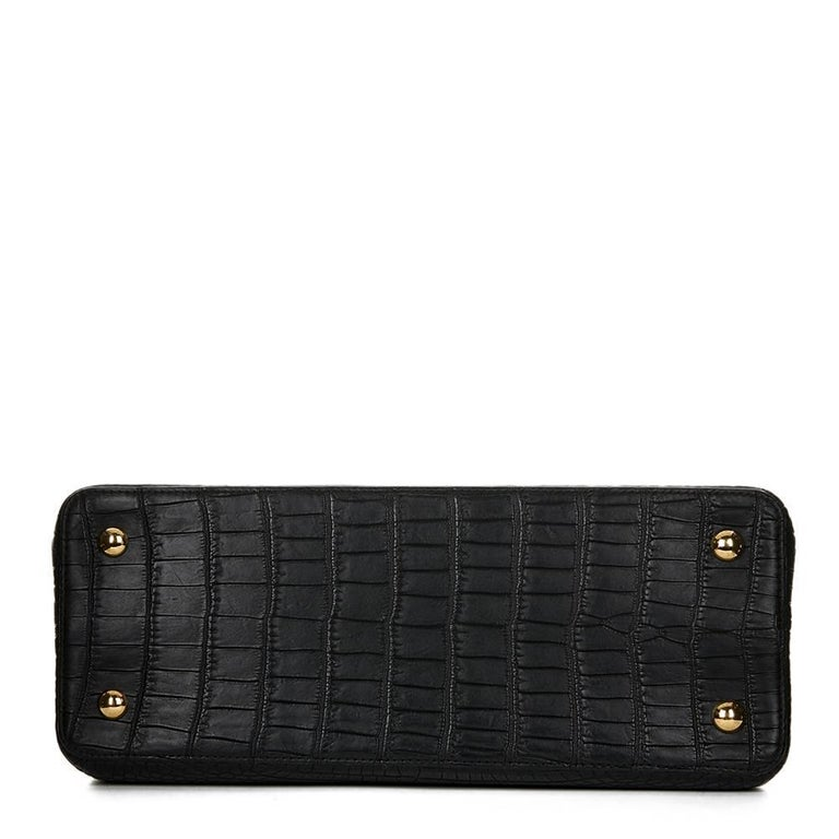2014 Louis Vuitton Black Matte Porosus Crocodile Leather Capucines MM 5