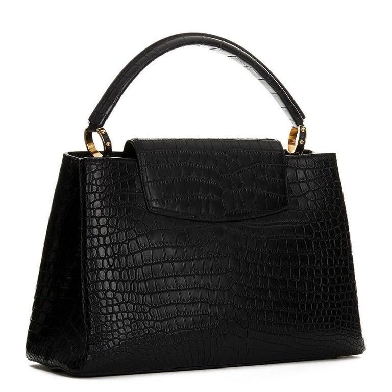 2014 Louis Vuitton Black Matte Porosus Crocodile Leather Capucines MM 4