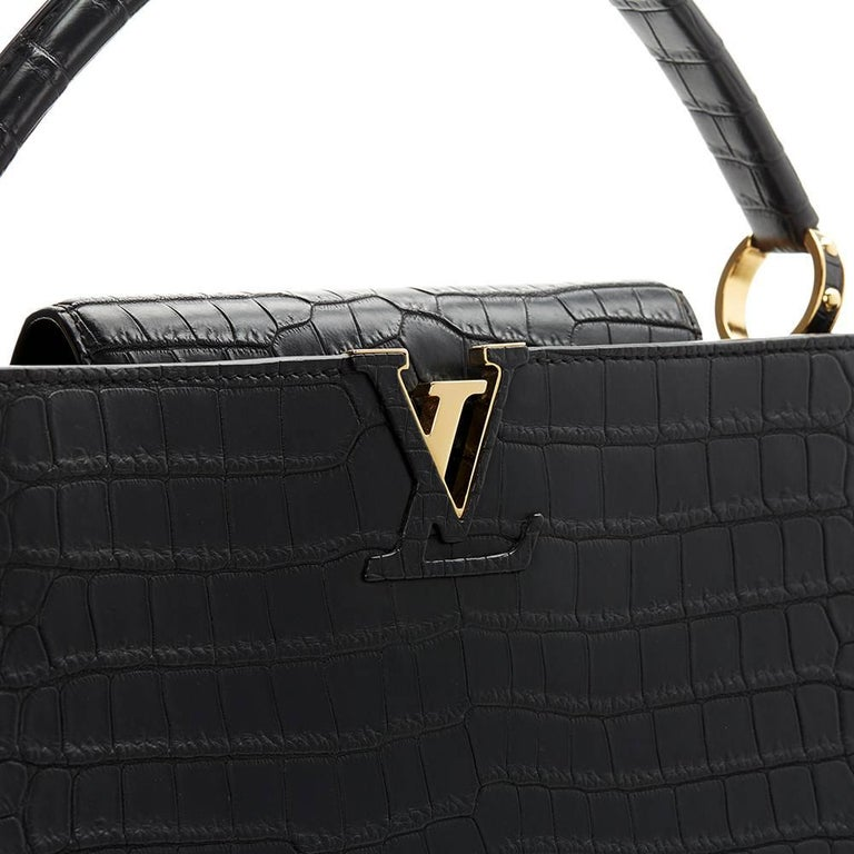 2014 Louis Vuitton Black Matte Porosus Crocodile Leather Capucines MM 6