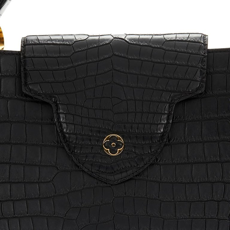 2014 Louis Vuitton Black Matte Porosus Crocodile Leather Capucines MM 7