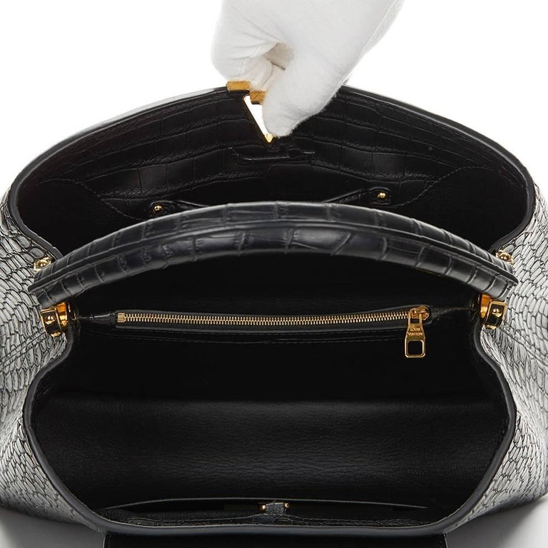 2014 Louis Vuitton Black Matte Porosus Crocodile Leather Capucines MM 8