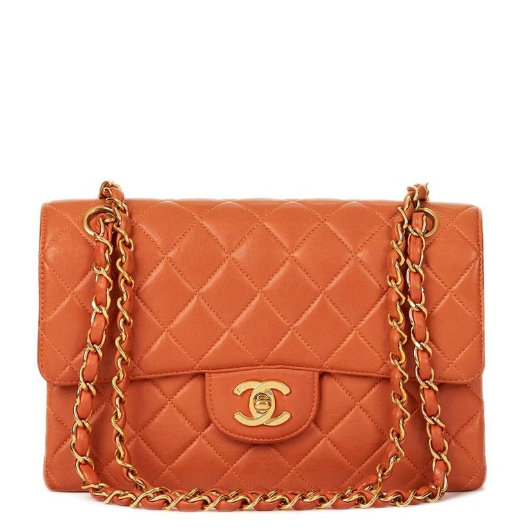 9ce7d1a3c875 1996 Chanel Burnt Orange Quilted Lambskin Double Sided Small Classic Flap  Bag For Sale.