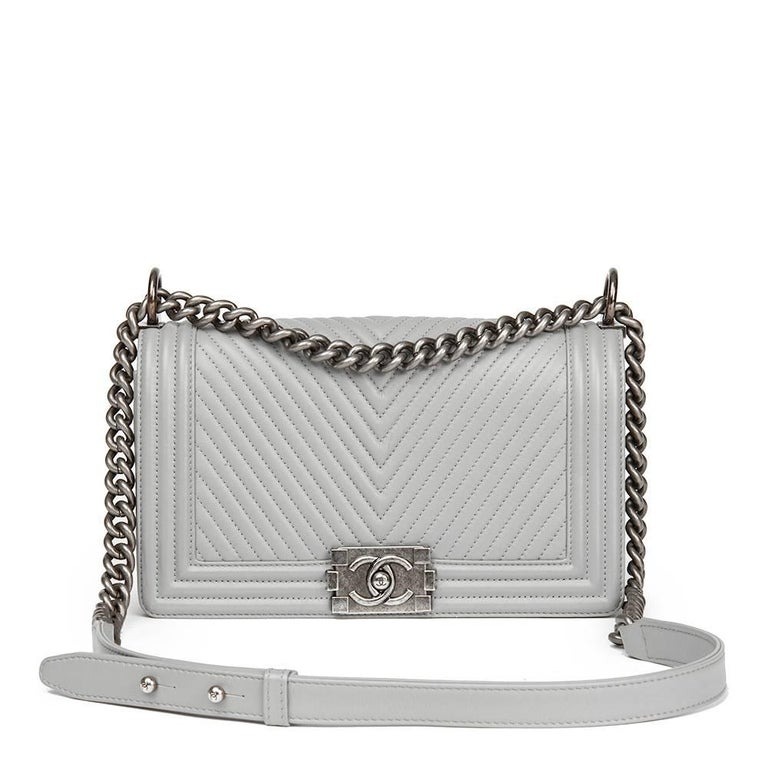 899d5dc606a081 Chanel Grey Chevron Quilted Calfskin Leather Medium Le Boy For Sale.