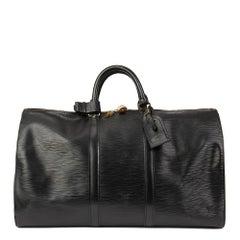1992 Louis Vuitton Black Epi Leather Vintage Keepall 50