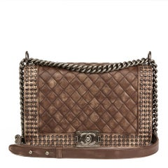 Chanel Brown Quilted Studded Distressed Lambskin New Medium Le Boy Bag, 2014