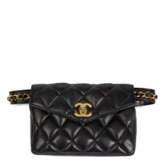 1990's Chanel Black Quilted Lambskin Vintage Classic Belt Bag
