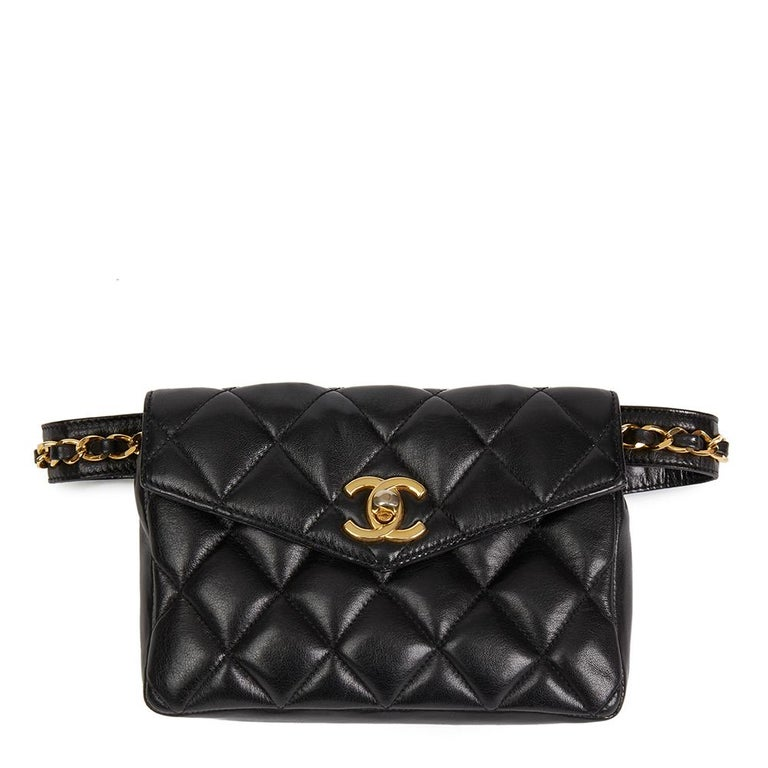 347b5153638e70 1990's Chanel Black Quilted Lambskin Vintage Classic Belt Bag at 1stdibs