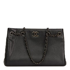 2016 Chanel Black Quilted Metallic Caviar Leather Woven Chain Shopping Bag