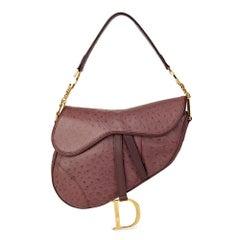 2001 Christian Dior Violet Ostrich Leather Saddle Bag