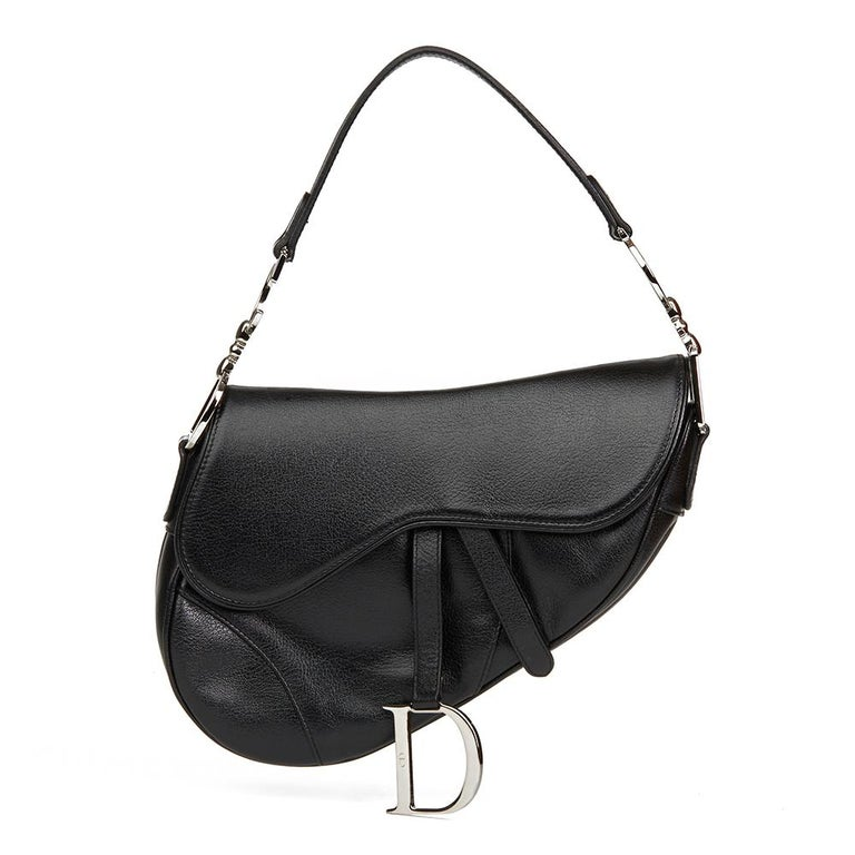 2002 Christian Dior Black Calfskin Leather Saddle Bag