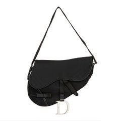 2002 Christian Dior Black Mesh Fabric Crossbody Saddle Bag