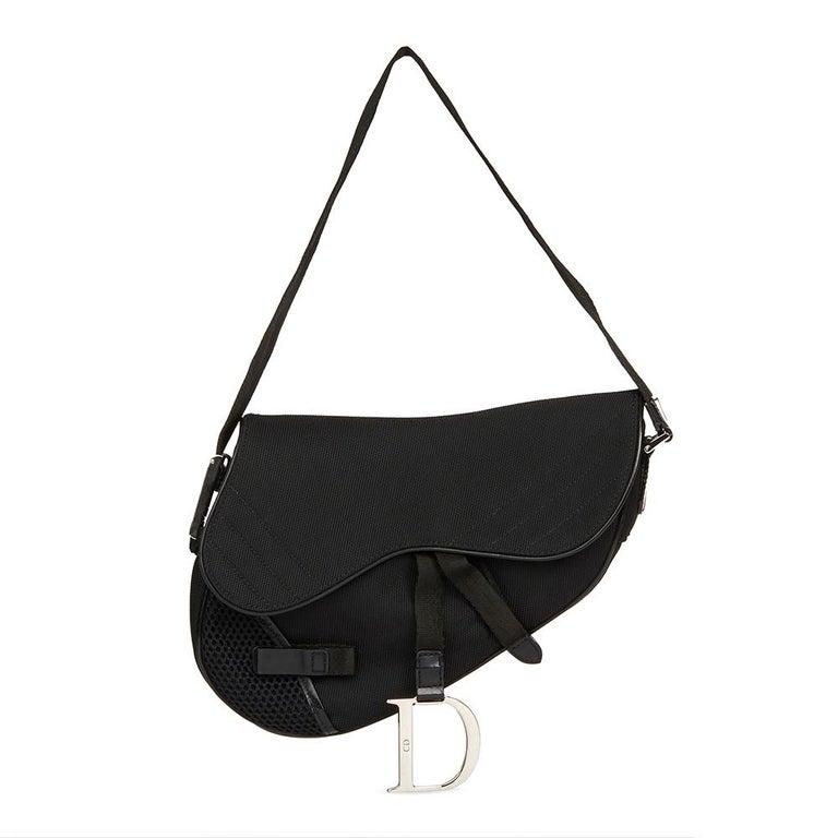 2002 Christian Dior Black Mesh Fabric Crossbody Saddle Bag For Sale