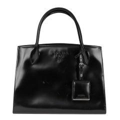2017 Prada Black Patent Leather Monochrome Tote