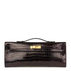 2016 Hermès Aubergine Shiny Porosus Crocodile Leather Kelly Cut