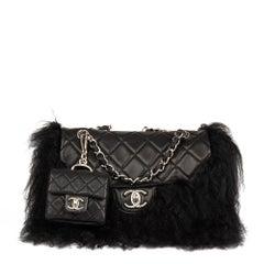 2008 Chanel Black Lambskin & Mongolian Goat Fur Tibet Flap Bag Micro Charm Set