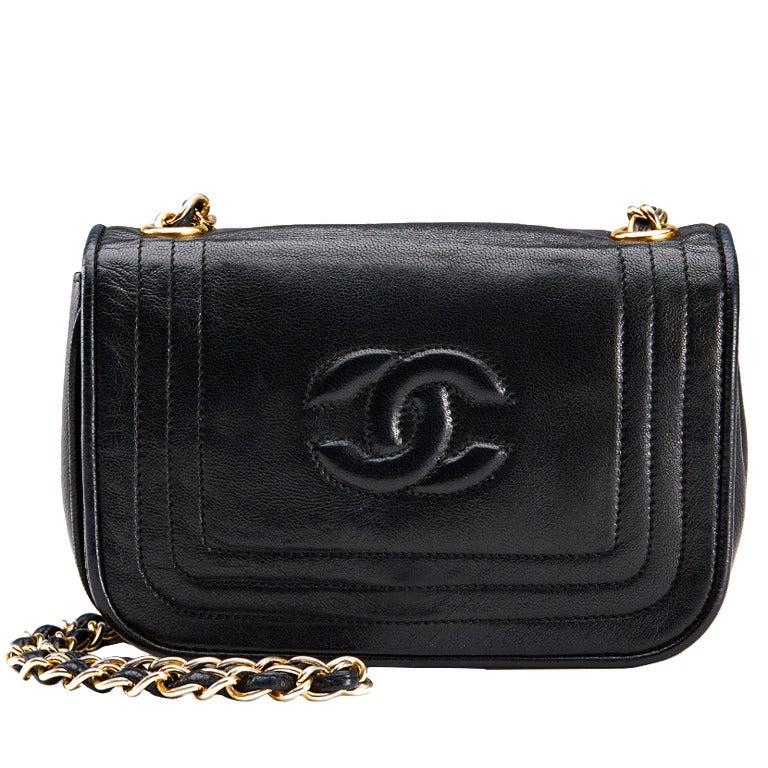 1990's Chanel Black Lambskin Vintage Flap Bag 1